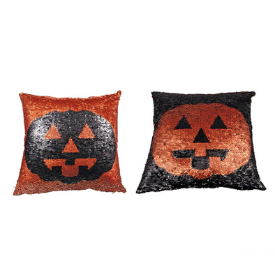 Reversible Sequin Jack O Lantern Pillow