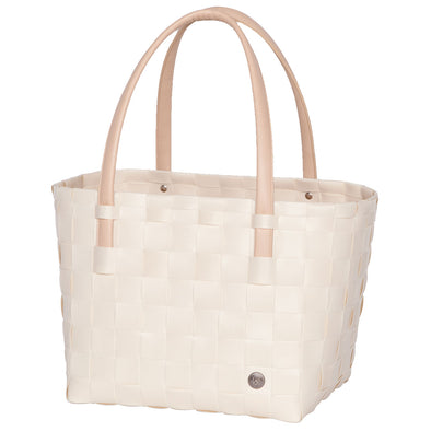 Color Block Ecru White Recycled Tote