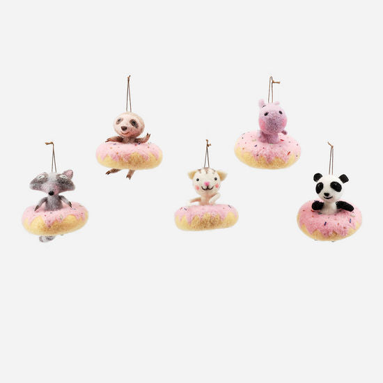 Felted Donut Ornament Set of 5