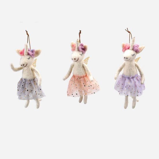 Felted Unicorn Ornament Set of 3