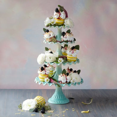 Mint Ruffle Tiered Cake Stand