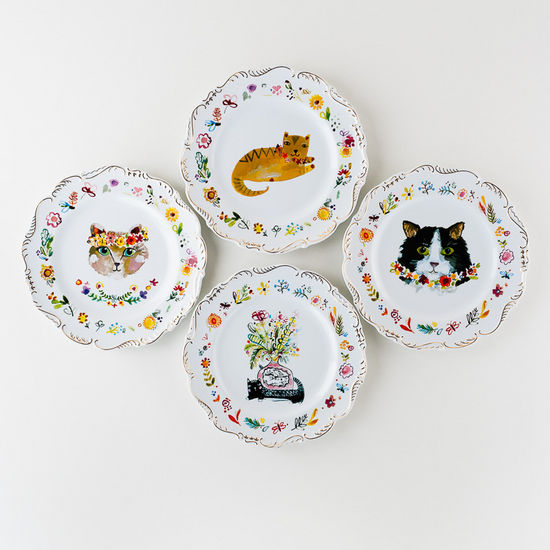 Set of Four Cat Plates