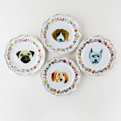 Set of Four Dog Plates