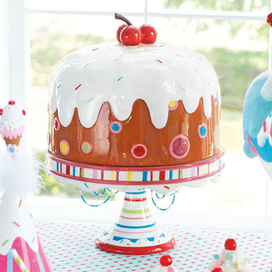 Birthday Cake Plate and Dome