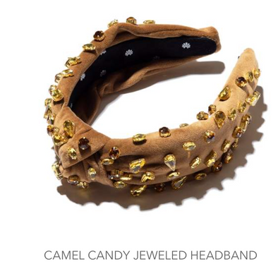 Velvet Candy Jeweled Headband Camel