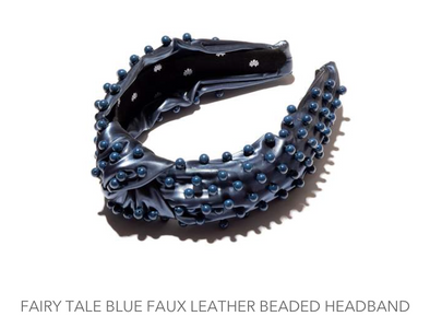 Faux Leather Beaded Headband Fairytale Blue
