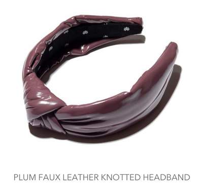Faux Leather Headband Plum Grey