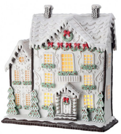 "13.5"" LED White Gingerbread Cake House"
