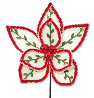 White Felt Berry Poinsettia