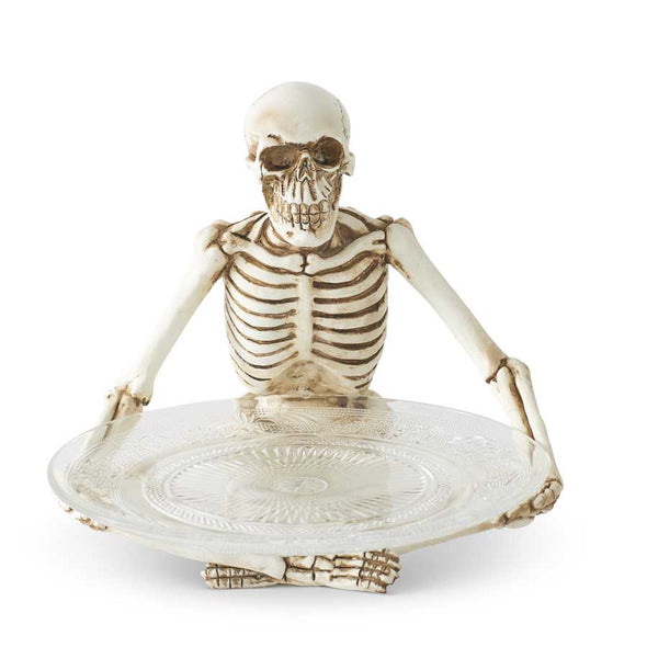 Skeleton with Glass Dish