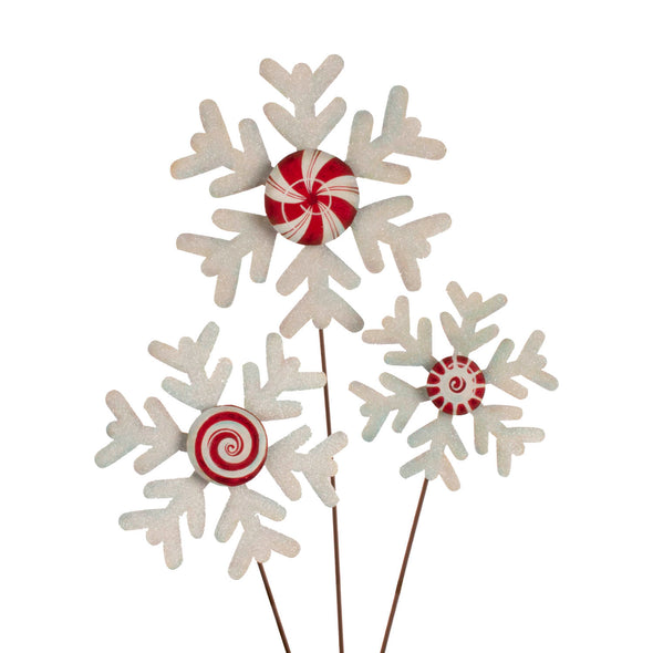 PREORDER 50% DEPOSIT Peppermint Snowflakes Set of Three