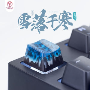 Resin Mixed With Solid Wood Keycap - TheKeyCaps - KeyCap