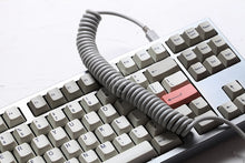 Load image into Gallery viewer, Coiled Cable Wire Black White Grey - TheKeyCaps - KeyCap