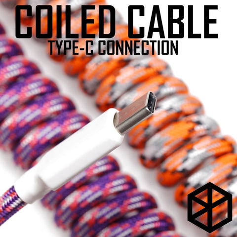 Nylon usb c port coiled Cable wire - TheKeyCaps
