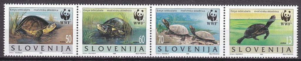 #247 Slovenia - World Wildlife Fund, Turtles, Strip of 4 (MNH)