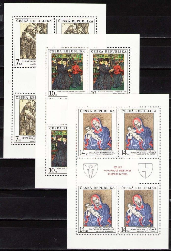 #2936-2938 Czech Republic - Painting Type of 1967, 3 M/S (MNH)