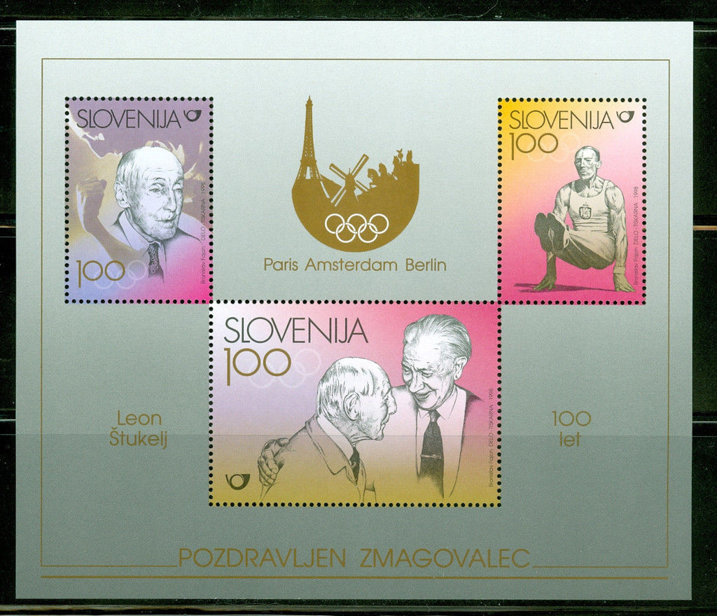 #337 Slovenia - Leon Stukelj, Olympic Gymnastics Champion, Sheet of 3 (MNH)