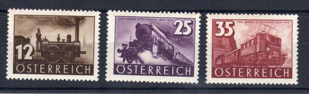 #385-387 Austria -  Centenary of Austrian Railways, Set of 3 (MNH)