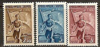 "#435-437 Albania -Bricklayer, Flag, Globe and ""Industry"" (MLH)"