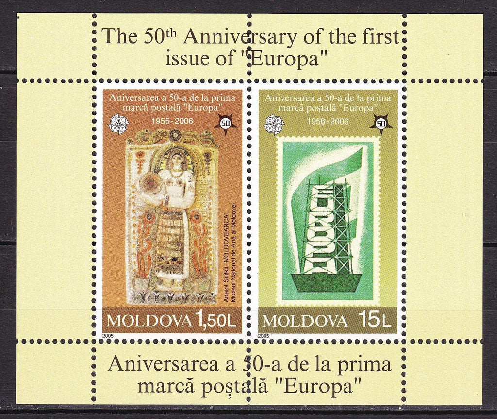 #498 Moldova - First Europa Stamps, 50th Anniv. S/S (MNH)