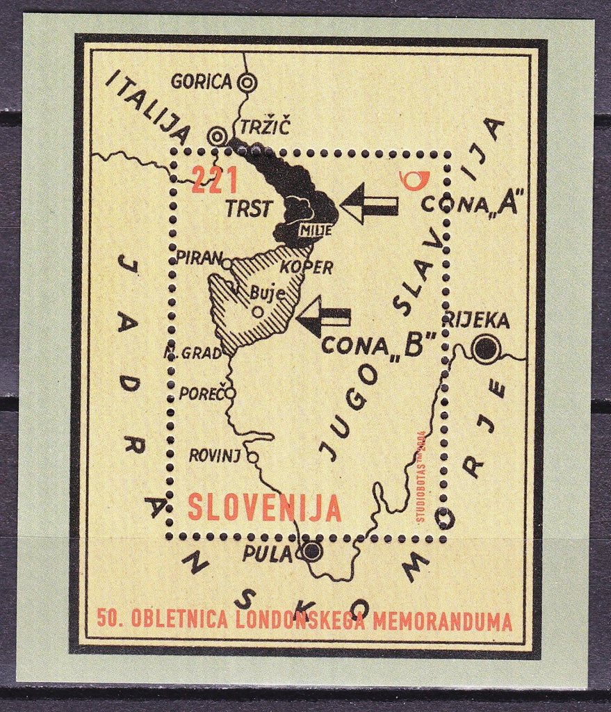 #575 Slovenia - Signing of Second London Memorandum S/S (MNH)