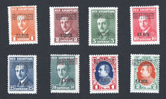 #241-248 Albania - Nos. 186-189, 191-194 Overprinted in Red or Black, Set of 8 (MLH)