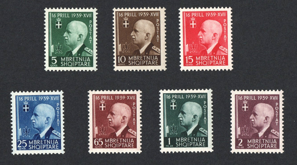 #324-330 Albania - King Victor Emmanuel III, Set of 7 (MLH)