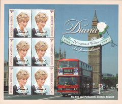 #2184 Antigua - 1998 Diana, Princess of Wales, Sheet of 6 (MNH)