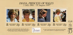 #696 Ascension - 1998 Diana, Princess of Wales, Sheet of 4 (MNH)