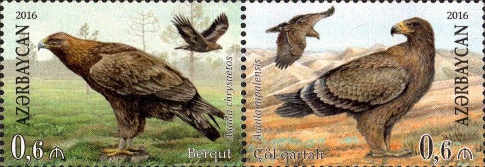 #1112 Azerbaijan - Rare Birds: Eagles, Pair (MNH)