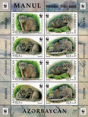 #1117 Azerbaijan - Worldwide Fund for Nature (WWF): Manul, Sheet of 8 (MNH)
