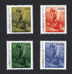 #620-623 Azerbaijan - Bahram Gur Kills a Dragon, Sculpture, Set of 4 (MNH)