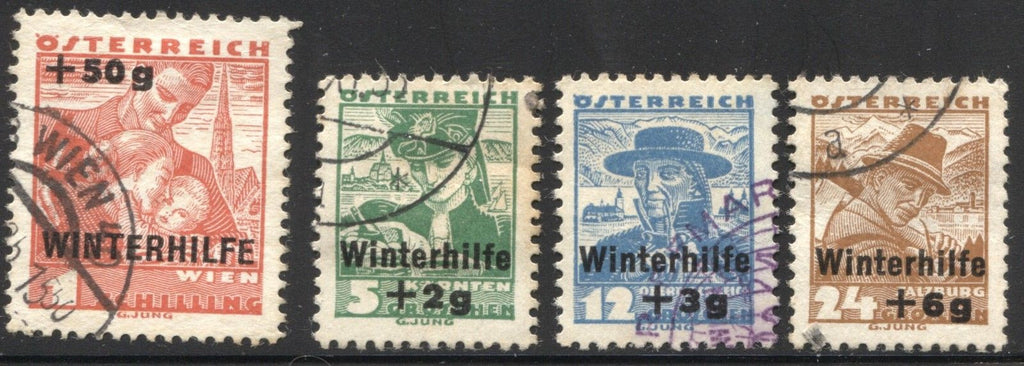 #B128-B131 Austria - Types of Regular Issue of 1934 Surcharged in Black (Used)