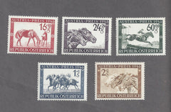 #B179-B183 Austria - Race Horse with Foal (MNH)