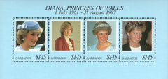 #950 Barbados - 1998 Diana, Princess of Wales (1961-1997), Sheet of 4 (MNH)