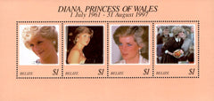 #1091 Belize - 1998 Diana, Princess of Wales (1961-1997), Sheet of 4 (MNH)