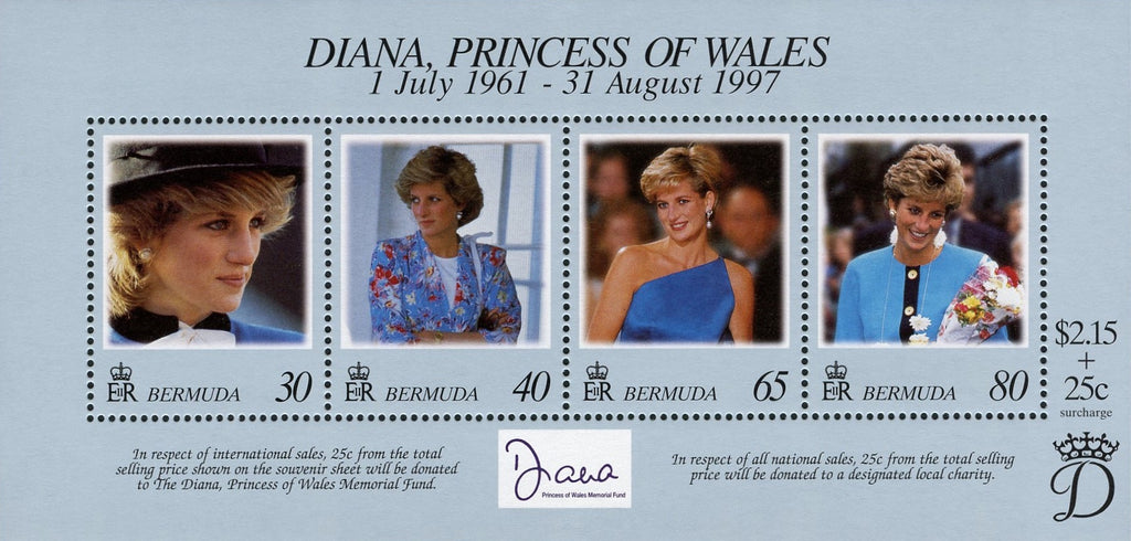 #753 Bermuda - Diana, Princess of Wales, Sheet of 4 (MNH)