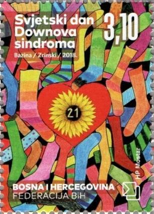 #370 Bosnia (Croat) - 2018 World Down Syndrome Day (MNH)