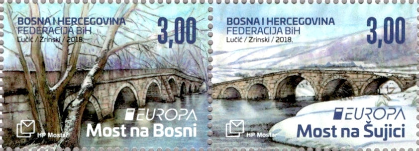 #371 Bosnia (Croat) - 2018 Europa: Bridges, Pair (MNH)
