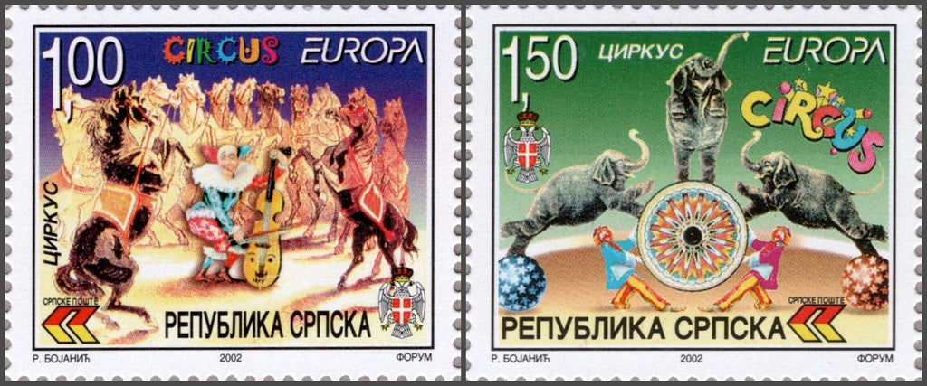 #172-173 Bosnia (Serb) - 2002 Europa: Circus, Set of 2 (MNH)