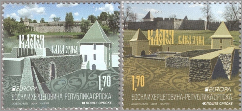 #567-568 Bosnia (Serb) - 2017 Europa: Castles, Set of 2 (MNH)