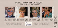 #258 British Antarctic Territory - 1998 Diana, Princess of Wales, Sheet of 4 (MNH)