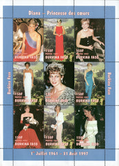#1090A-1090K Burkina Faso - 1997 Diana, Princess of Wales, 2 Sheets of 9 (MNH)