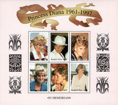 #1091-1093 Burkina Faso - 1998 Princess Diana, 3 Sheets of 6 (MNH)