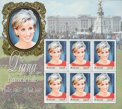 #756 Burundi - 1999 Diana, Princess of Wales, Sheet of 6 (MNH)