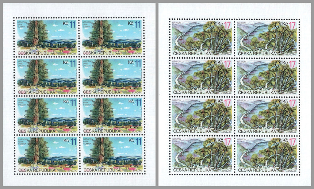 #3089-3090 Czech Republic - 1999 Europa: Nature Reserves and Parks, 2 M/S (MNH)