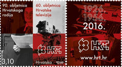 #989 Croatia - Croatian Radio, 90th Anniv. and Television, 60th Anniv. (MNH)