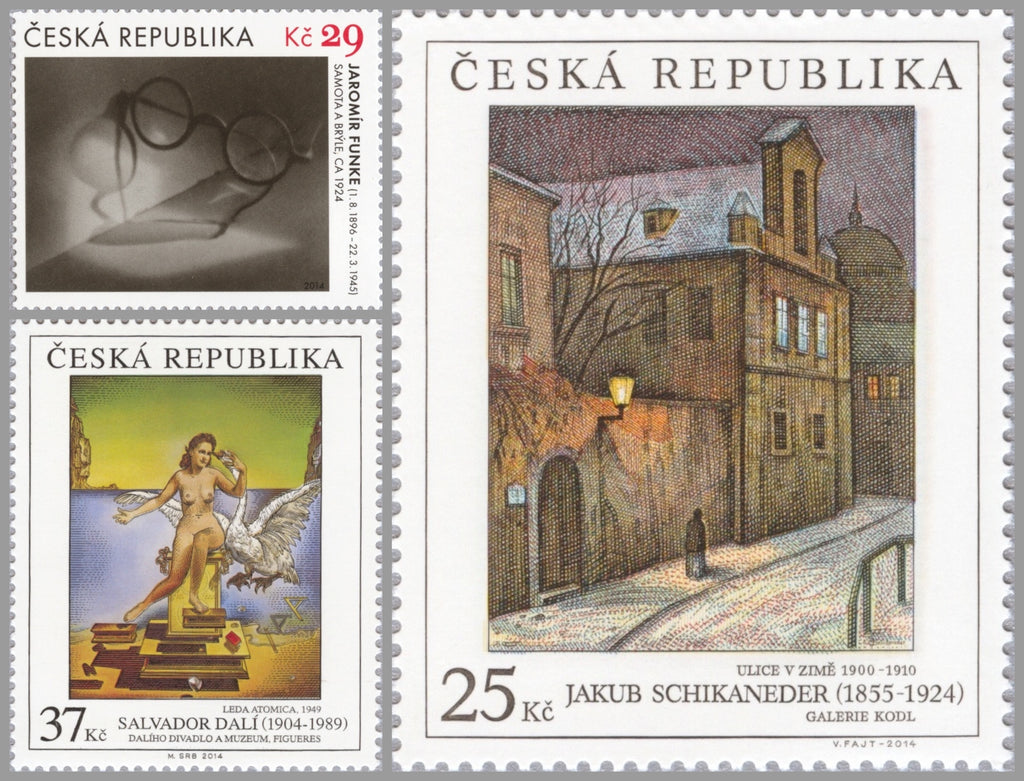 #3616-3618 Czech Republic - 2014, Works of Art on Postage Stamps, Set of 3 (MNH)