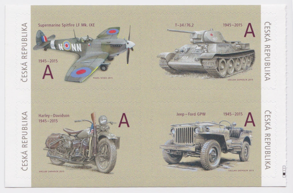 #3626-3629 Czech Republic - 2015 Military Aircrafts and Vehicles, Block of 4 (MNH)