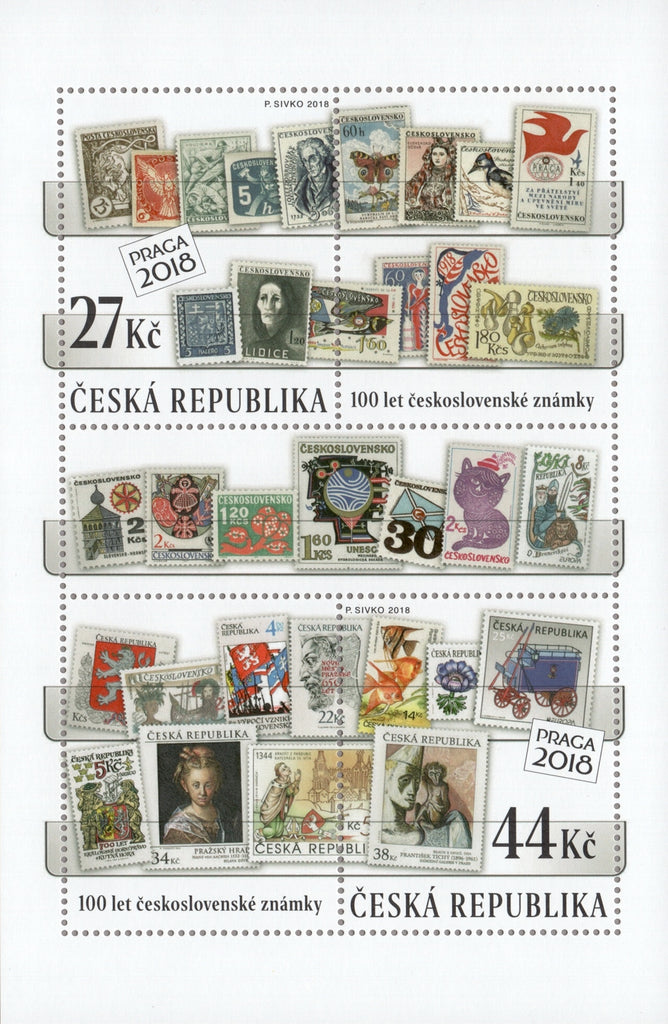 Czech Republic - 2018, 100 Years of Czechoslovak Postage Stamps M/S (MNH)